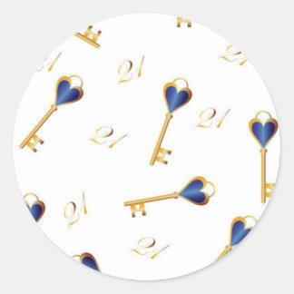 21st Birthday keys Round Sticker