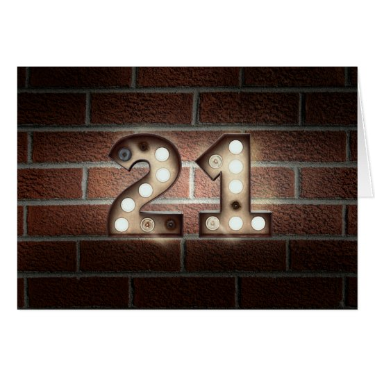 21st birthday-marquee light sign on brick card