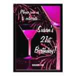21st Birthday Martini Cocktail Pink Party 11 Cm X 16 Cm Invitation Card