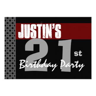 21st Birthday Modern Red Black Silver W1703 Announcements