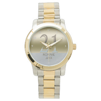 21st Birthday | Number 21 Gold Silver Metal Look Watches