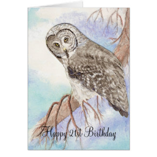 21st Birthday Owl Greeting Cards