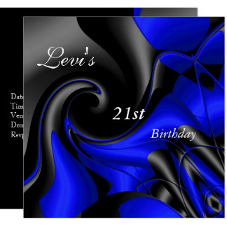 21st Birthday Party Abstract Black blue Mens Card