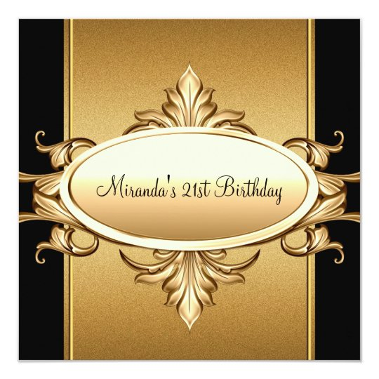 21st Birthday Party Black Bronze Gold Card