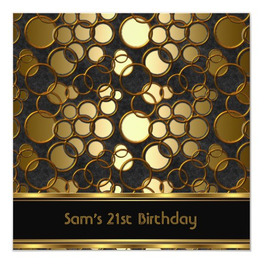 21st Birthday Party Black Gold Ornate Jewel Mans
