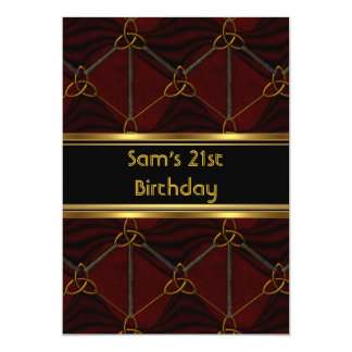 21st Birthday Party Black Leather Gold Mans Mens Card