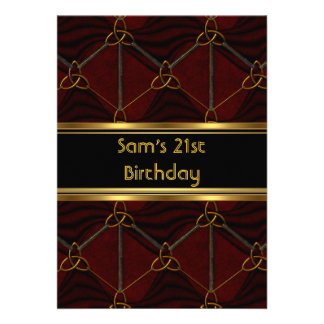 21st Birthday Party Black Leather Gold Mans Mens Personalized Invitations