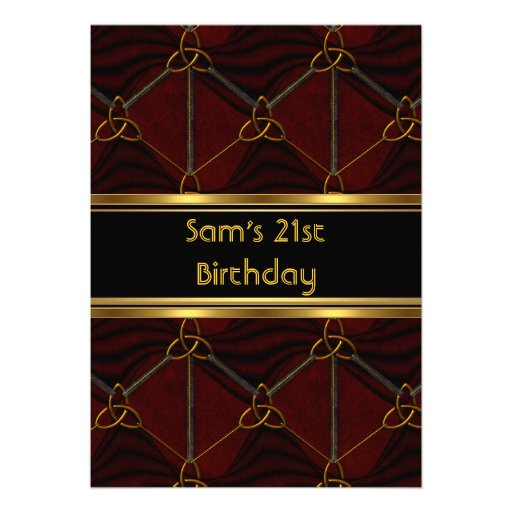 21st Birthday Party Black Leather Gold Mans Mens Personalized Invite