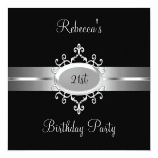 21st Birthday Party Black Silver Card