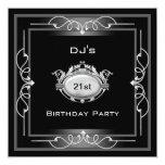 21st Birthday party  Black Silver White Art Deco 13cm X 13cm Square Invitation Card