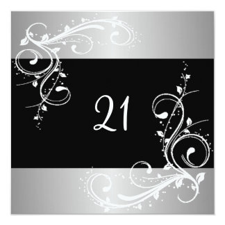 21st Birthday Party Black Silver White Floral 13 Cm X 13 Cm Square Invitation Card