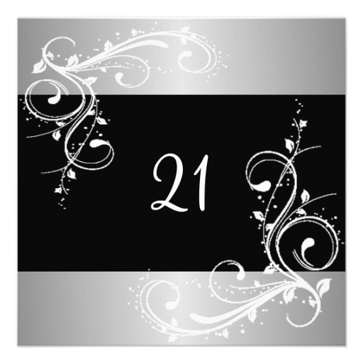 21st Birthday Party Black Silver White Floral Personalized Invite
