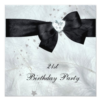 21st Birthday Party Black White 13 Cm X 13 Cm Square Invitation Card