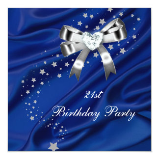 21st Birthday Party Blue Silver 13 Cm X 13 Cm Square Invitation Card