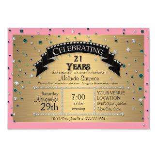 21st Birthday Party Celebrate Faux Jewel Confetti 13 Cm X 18 Cm Invitation Card