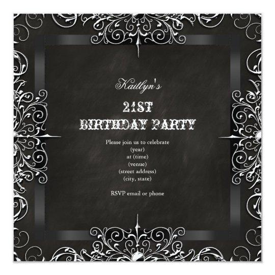 21st Birthday Party Chalkboard Black Antique Card