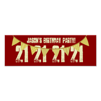 21st Birthday Party Custom Name YELLOW BANNERS F09 Poster