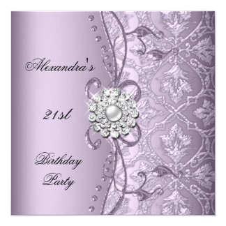 21st Birthday Party Damask Lilac Jewel Image Card