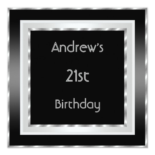 21st Birthday Party Elegant Black white Silver Men