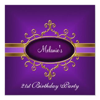 21st Birthday Party Elegant Purple Gold Card