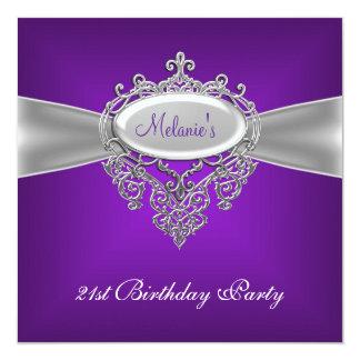 21st Birthday Party Elegant Purple Silver Card