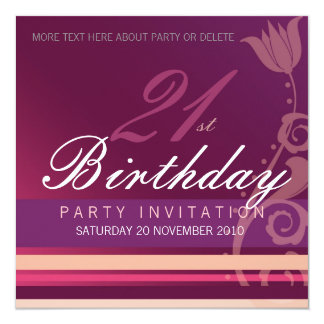 21st Birthday Party Floral Invitation