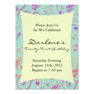 21st Birthday Party Fun Confetti 17 Cm X 22 Cm Invitation Card