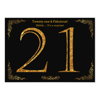 21st Birthday party,Gatsby styl,black gold glitter 13 Cm X 18 Cm Invitation Card