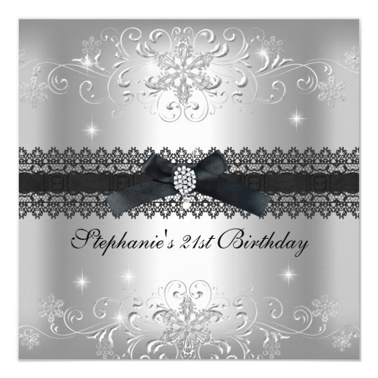21st Birthday Party Glitter Silver Grey Card
