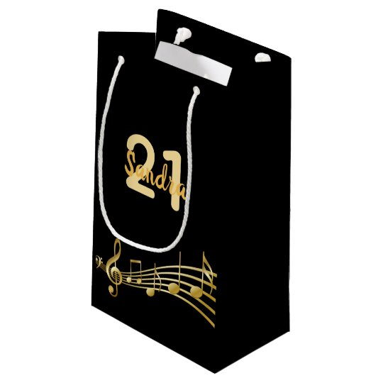 21st Birthday Party Gold Music Notes On Black Small Gift Bag