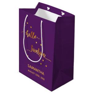 21st Birthday Party Gold Purple Hello Twentyone Medium Gift Bag