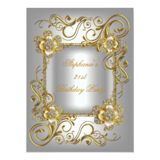 21st Birthday Party Grey Silver Gold Diamond 3 17 Cm X 22 Cm Invitation Card