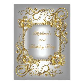 "21st Birthday Party Grey Silver Gold Diamond 3 6.5"" X 8.75"" Invitation Card"