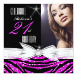 21st Birthday Party Hot Pink 21 Zebra Photo 3 13 Cm X 13 Cm Square Invitation Card