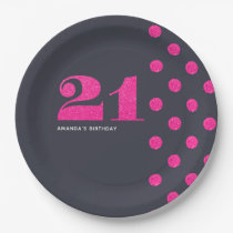 21st Birthday Party Hot-Pink glitter personalised Paper Plate