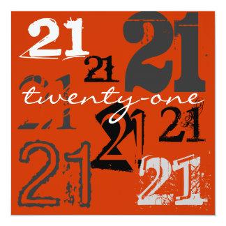 "21st Birthday Party Invitations 5.25"" Square Invitation Card"