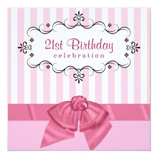 21st Birthday Party Invitations - Pink & White