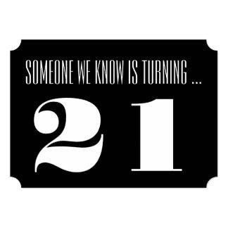 21st Birthday party Invite, black and white.