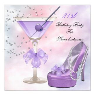 21st Birthday Party Lilac Martini Purple Pink Custom Announcements