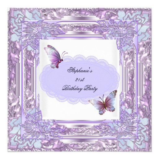21st Birthday Party Lilac White Butterfly Invites