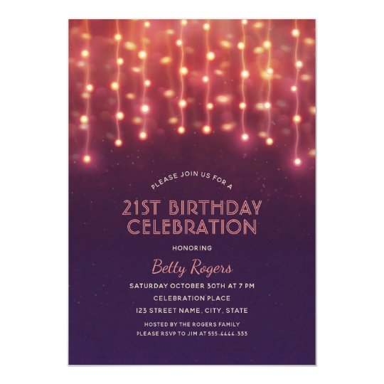 21ST Birthday Party Modern Glitter String Lights Card