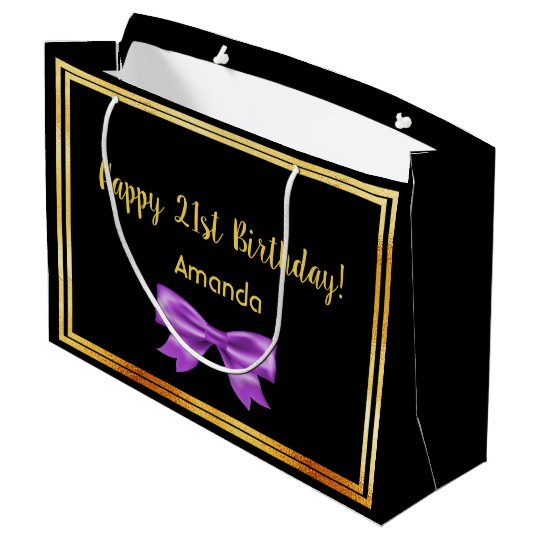 21st Birthday Party On Black Gold Frame Name Bow Large Gift Bag
