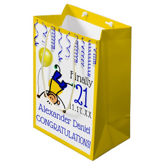 21st Birthday Party Or Customise Age Medium Gift Bag
