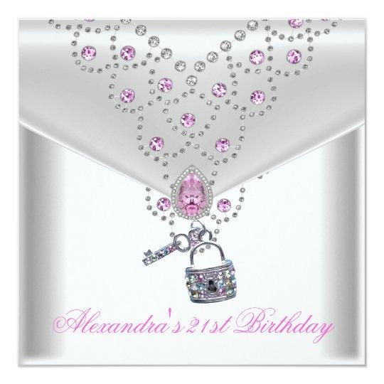 21st Birthday Party Overlay Pink Jewel Key Lock