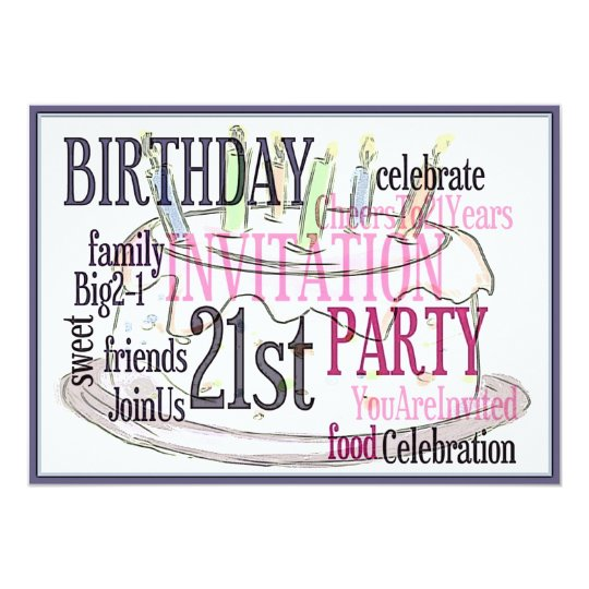 21st Birthday Party Personalised Invitation
