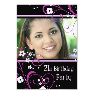 21st Birthday Party Photo Invitation Card