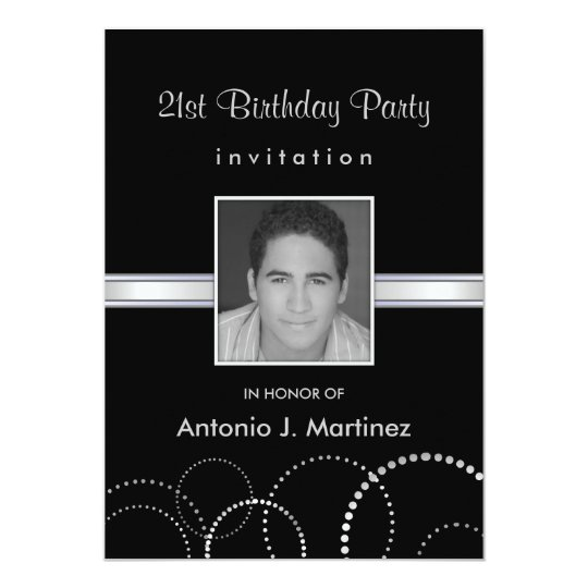 21st Birthday Party Photo Invitations - Silver