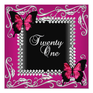 21st Birthday Party Pink Black Butterflies Silver Card