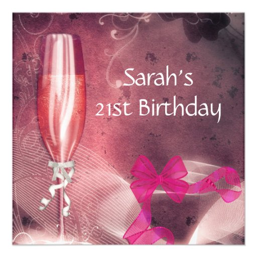 21st Birthday Party Pink Champagne Glass Bow 2 Custom Invitations