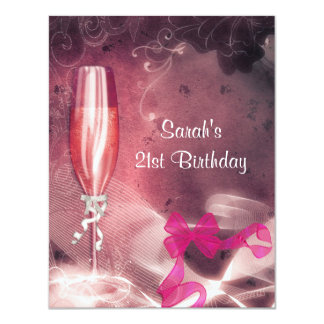 21st Birthday Party Pink Champagne Glass Bow Card